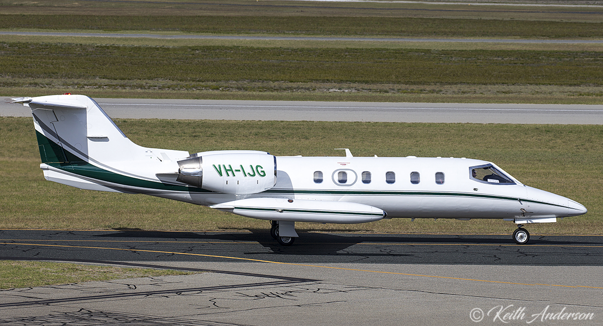 VH-IJG Gates Learjet 35A (MSN 35-608) of Aus West Airlines at Jandakot Airport – 14 June 2017.