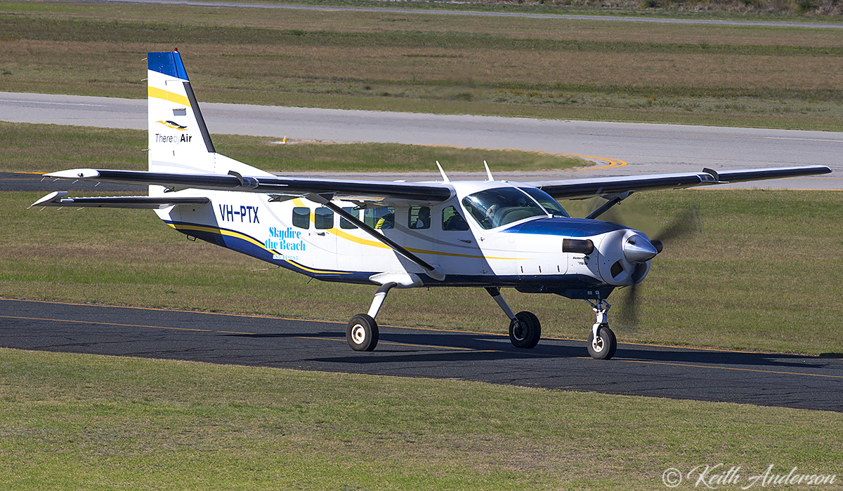 VH-PTX Cessna 208 Caravan (MSN 20800247) operated by Skydive the Beach Group Ltd at Jandakot Airport – 17 June 2017.