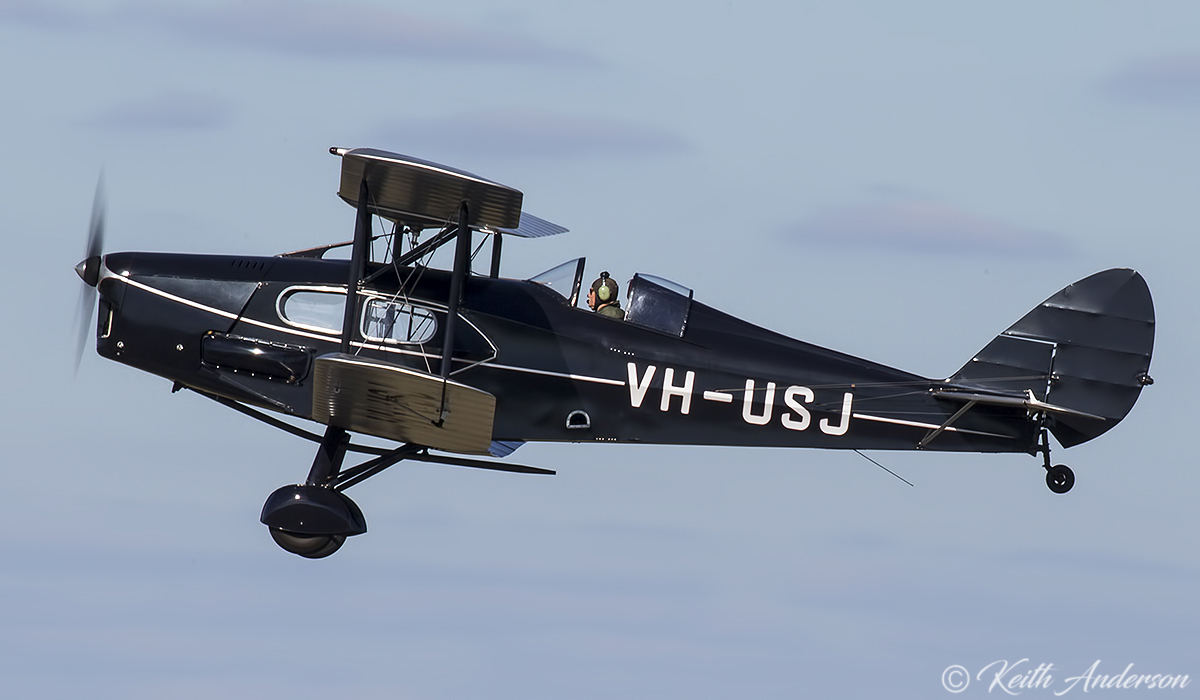 VH-USJ De Havilland DH-83 Fox Moth (MSN 4058) flown by Phil Smith at Jandakot Airport – 17 June 2017.