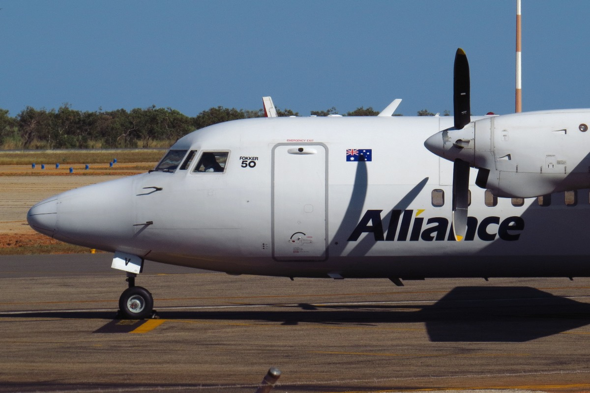 VH-FKV Fokker 50 (MSN 20303) of Alliance Airlines at Broome Airport – 29 June 2017.