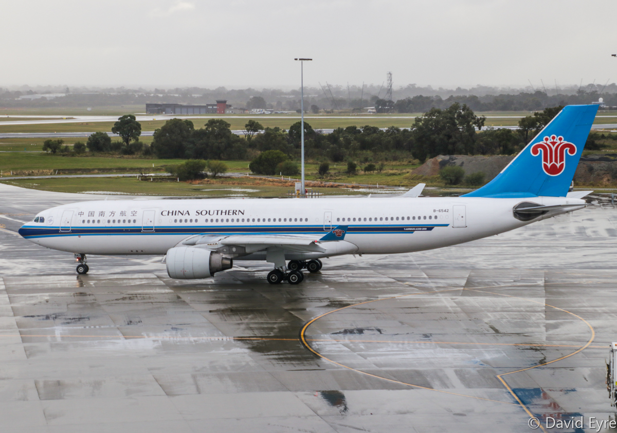 B-6542 Airbus A330-223 (MSN 1297) of China Southern Airlines at Perth Airport – Thu 22 June 2017. Flight CZ320 to Guangzhou taxying out at 8:52am. Photo © David Eyre