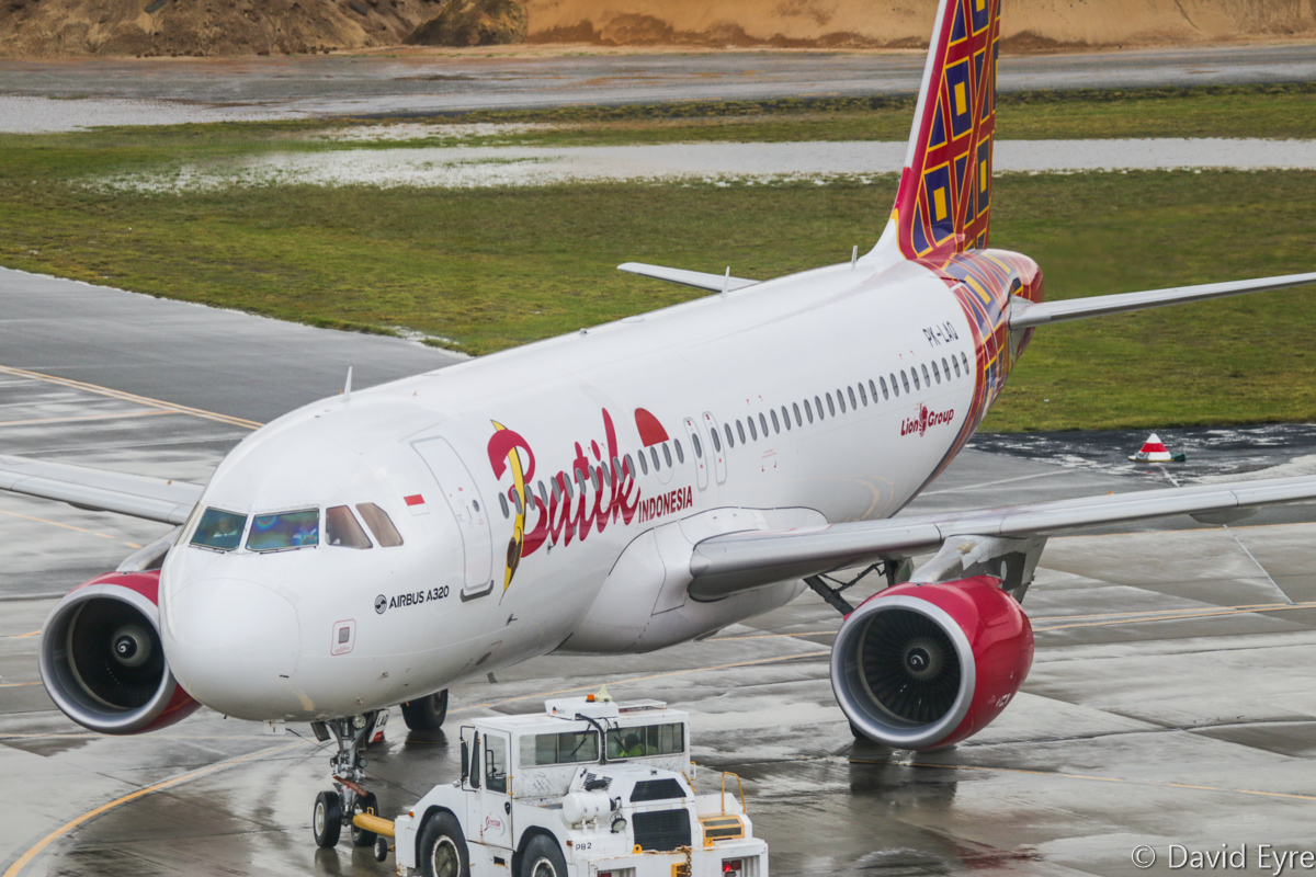 PK-LAQ Airbus A320-214 (Sharklets) (MSN 6722) of Batik Air Indonesia, at Perth Airport – Thu 22 June 2017. First visit to Perth, first Batik service from Perth to Denpasar. Flight ID6008, seen during pushback from Bay 155 for engine start at 8:55am. Photo © David Eyre