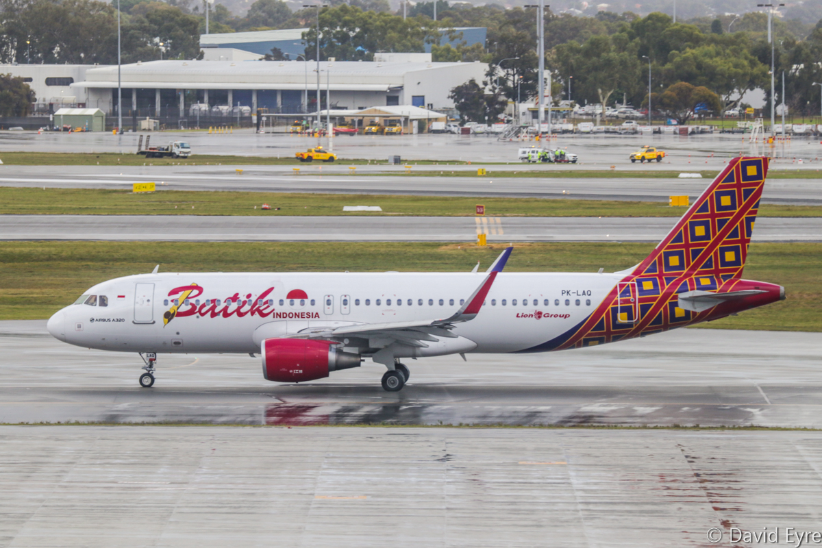 PK-LAQ Airbus A320-214 (Sharklets) (MSN 6722) of Batik Air Indonesia, at Perth Airport – Thu 22 June 2017. First visit to Perth, first Batik service from Perth to Denpasar. Flight ID6008, taxying out for departure at 9:02am. Photo © David Eyre