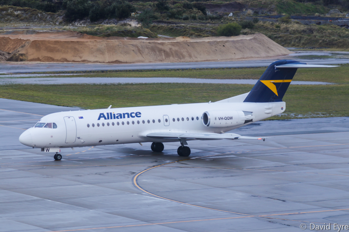 VH-QQW Fokker 70 (MSN 11569) of Alliance Airlines, at Perth Airport - Thu 22 June 2017. Flight QQ602 (callsign 'UNITY 602') departing from Terminal 1 International bay 156 at 8:13am to Learmonth and Christmas Island. Photo © David Eyre
