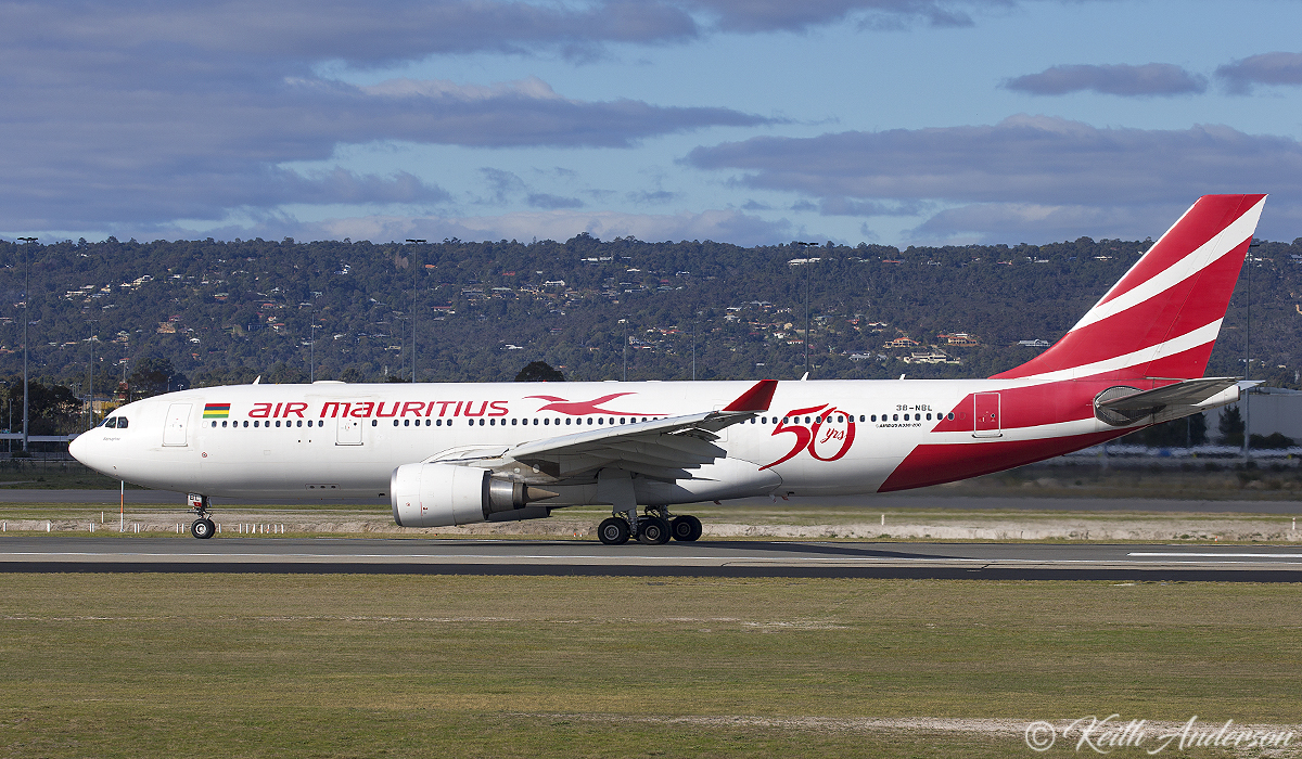 "3B-NBL Airbus A330-202 (cn 1057) of Air Mauritius, named ""Nénuphar"" at Perth Airport – 25 June 2017."