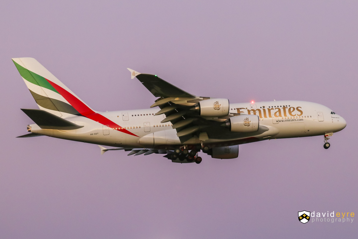 A6-EET Airbus A380-861 (MSN 142) of Emirates, at Perth Airport - 1 August 2017. Flight EK420 from Dubai, on final approach to Perth Airport's runway 21 at 5:53pm. Photo © David Eyre
