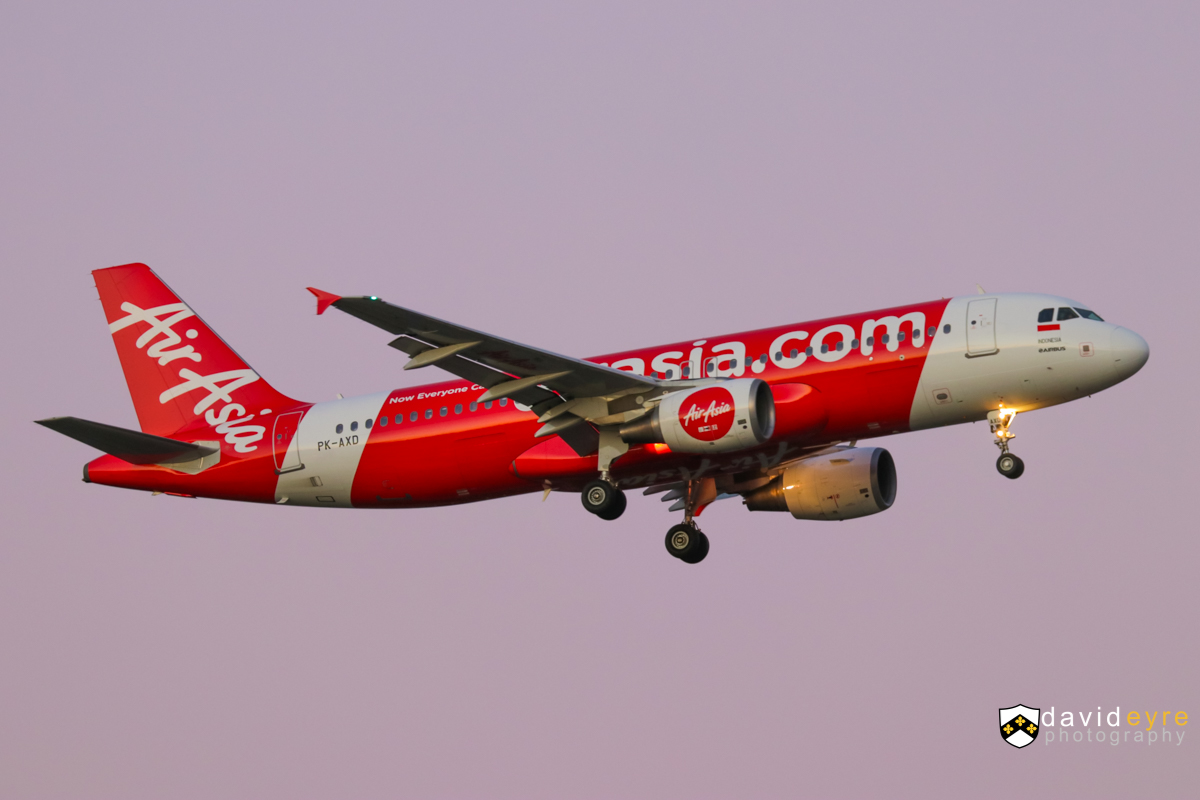 PK-AXD Airbus A320-216 (MSN 3182) of Indonesia AirAsia, at Perth Airport - 1 August 2017. Flight QZ544 from Denpasar, on final approach to runway 21 at 5:52pm. Photo © David Eyre
