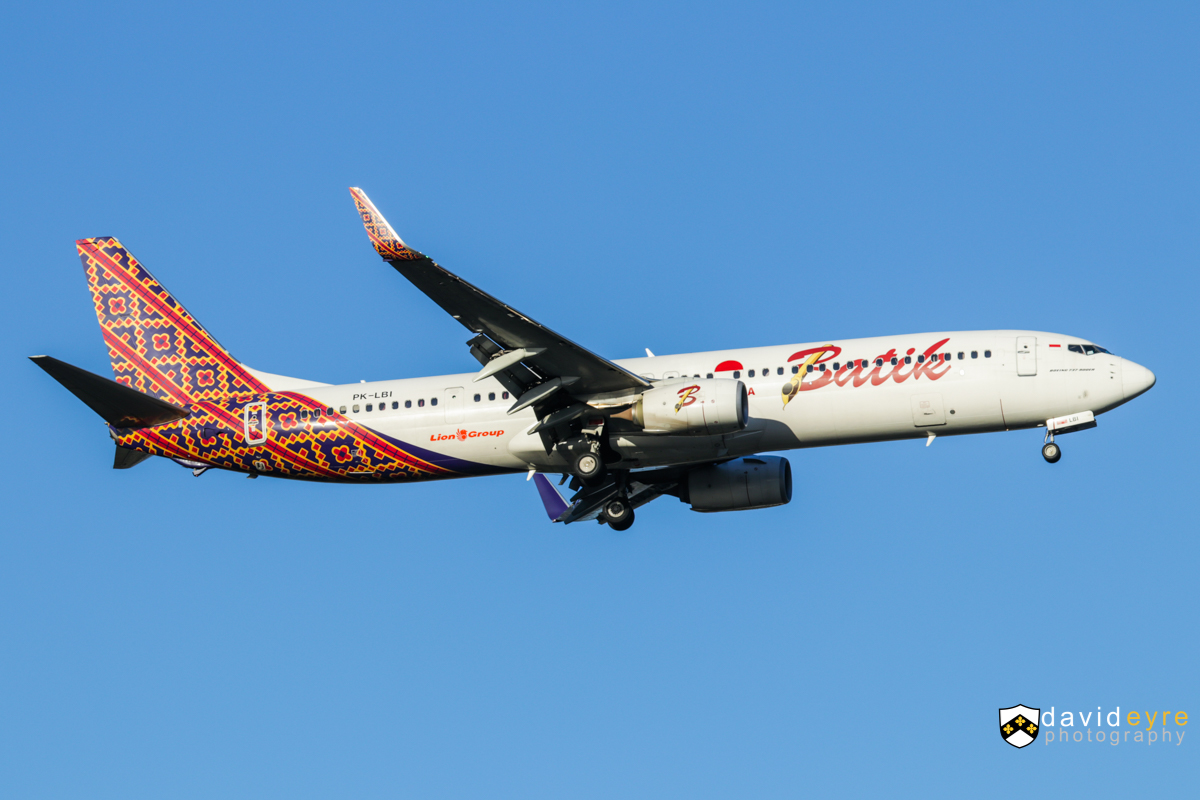 PK-LBI Boeing 737-9GPER (MSN 38743/4711) of Batik Air Indonesia at Perth Airport – 1 August 2017. Flight ID6005 from Denpasar (Bali), on final approach to runway 21 at 4:40pm. First visited on 28 July 2017 - the airline switched from using A320s on this route. Photo © David Eyre