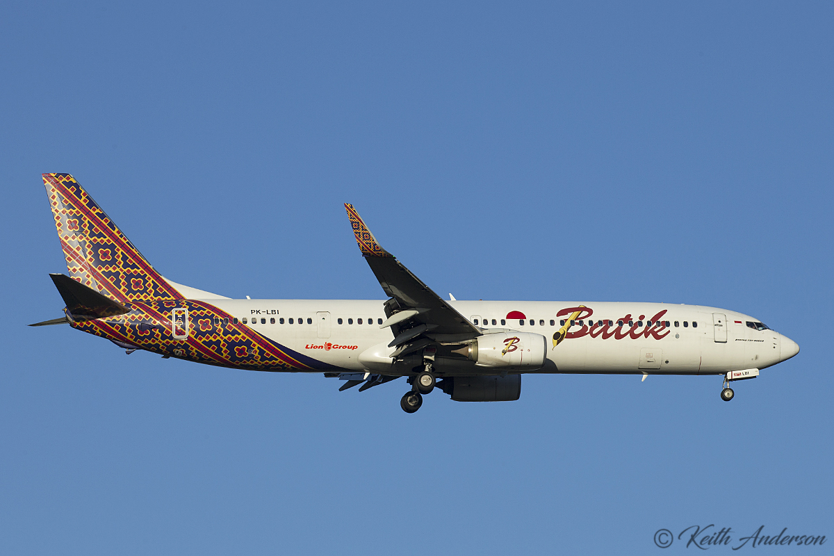PK-LBI Boeing 737-9GPER (W) (MSN 38743) of Batik Air at Perth Airport – 1 August 2017.
