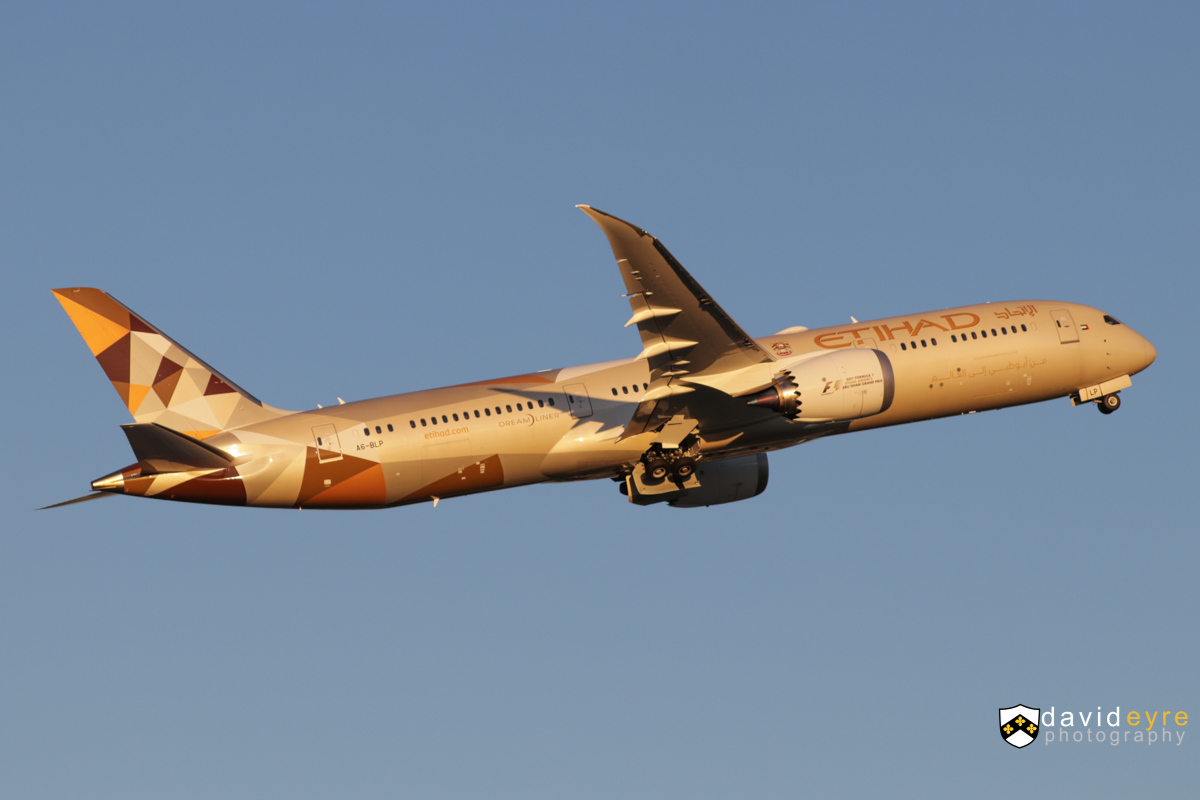 A6-BLP Boeing 787-9 Dreamliner (MSN 39662/585) of Etihad, at Perth Airport - 2 August 2017. 1st visit to Perth by A6-BLP, Etihad's newest 787, delivered 11 days before this photo, on 22 July 2017. Flight EY487 to Abu Dhabi, taking off from runway 21 at 5:17pm. Photo © David Eyre
