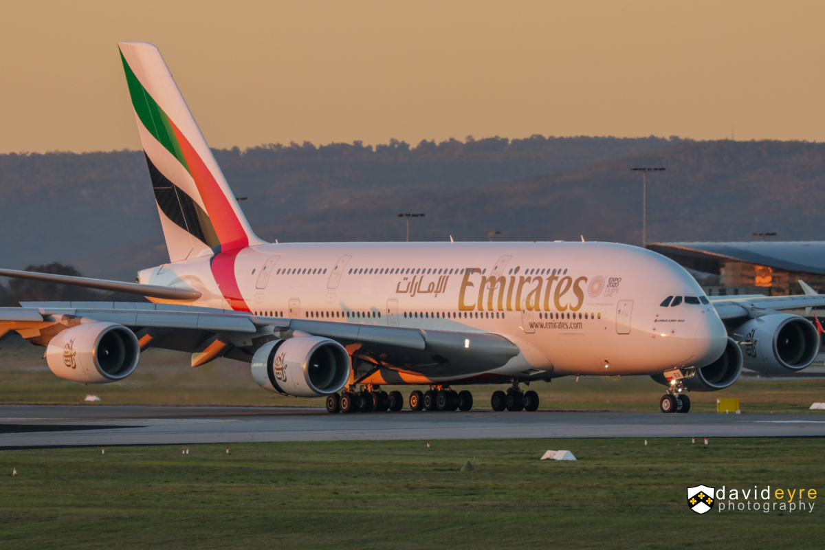 A6-EEO Airbus A380-861 (MSN 136) of Emirates, at Perth Airport - 2 August 2017. Flight EK420 from Dubai, landing on runway 21 at 5:34pm. It now wears a different version of the Expo 2020 Dubai logo on the forward fuselage. Photo © David Eyre