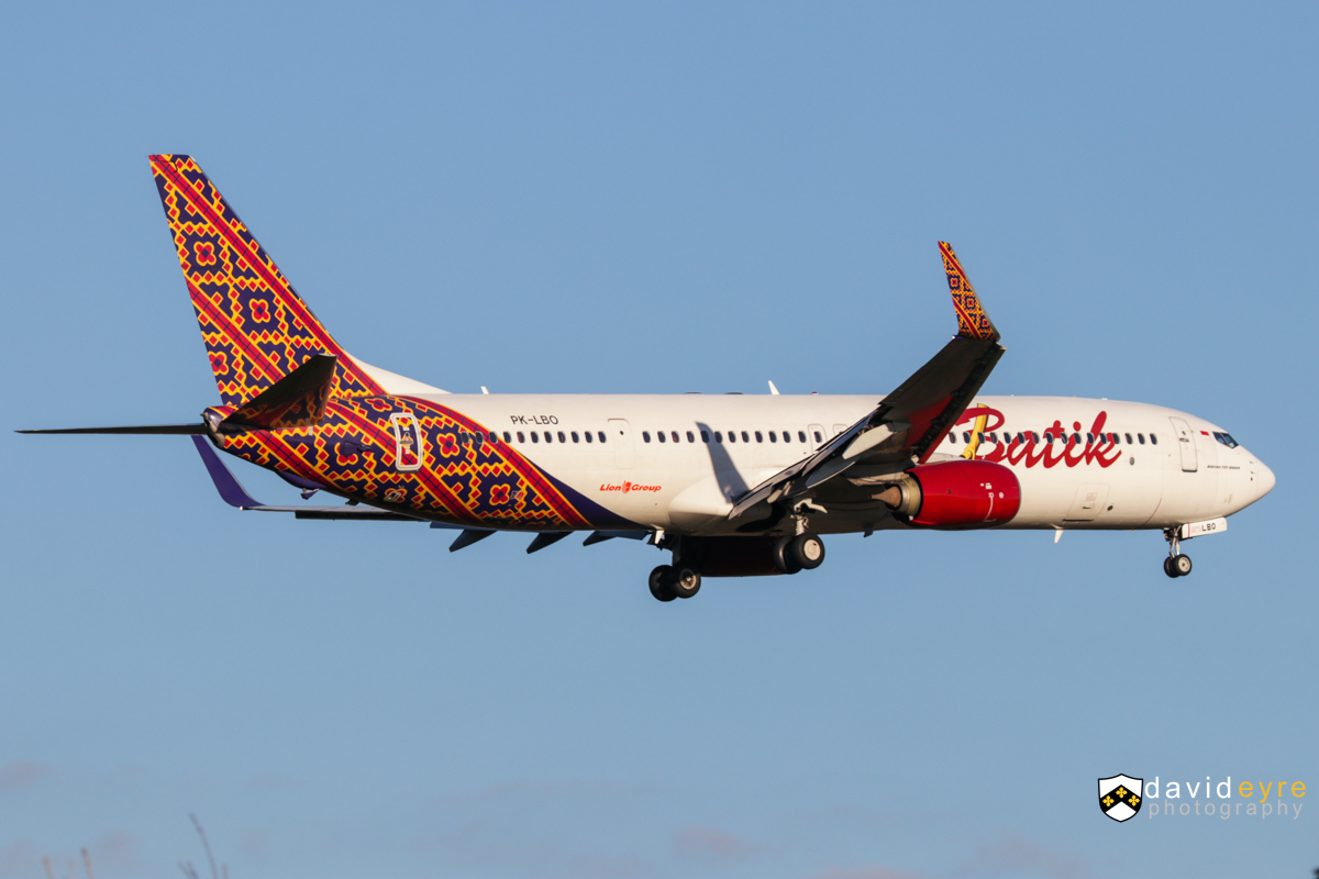 PK-LBO Boeing 737-9GPER (MSN 38731/4463) of Batik Air Indonesia, at Perth Airport - 2 August 2017. Flight ID6005 from Denpasar (Bali), on final approach to runway 21 at 4:43pm. Photo © David Eyre