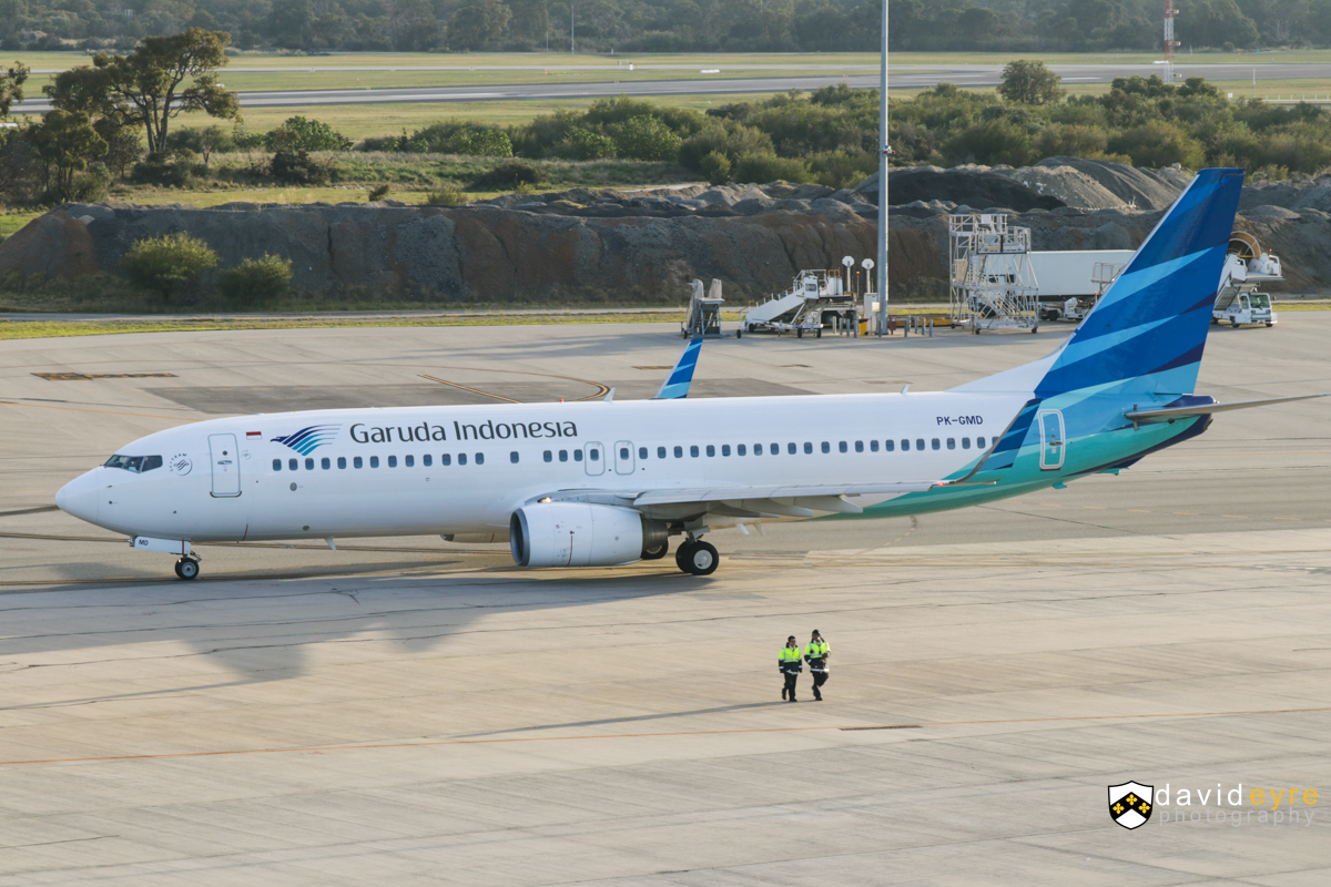 PK-GMD Boeing 737-8U3 (MSN 30156/3100) of Garuda Indonesia, at Perth Airport - 7 August 2017. Flight GA727 to Denpasar (Bali), taxying out at 7:47am. Photo © David Eyre