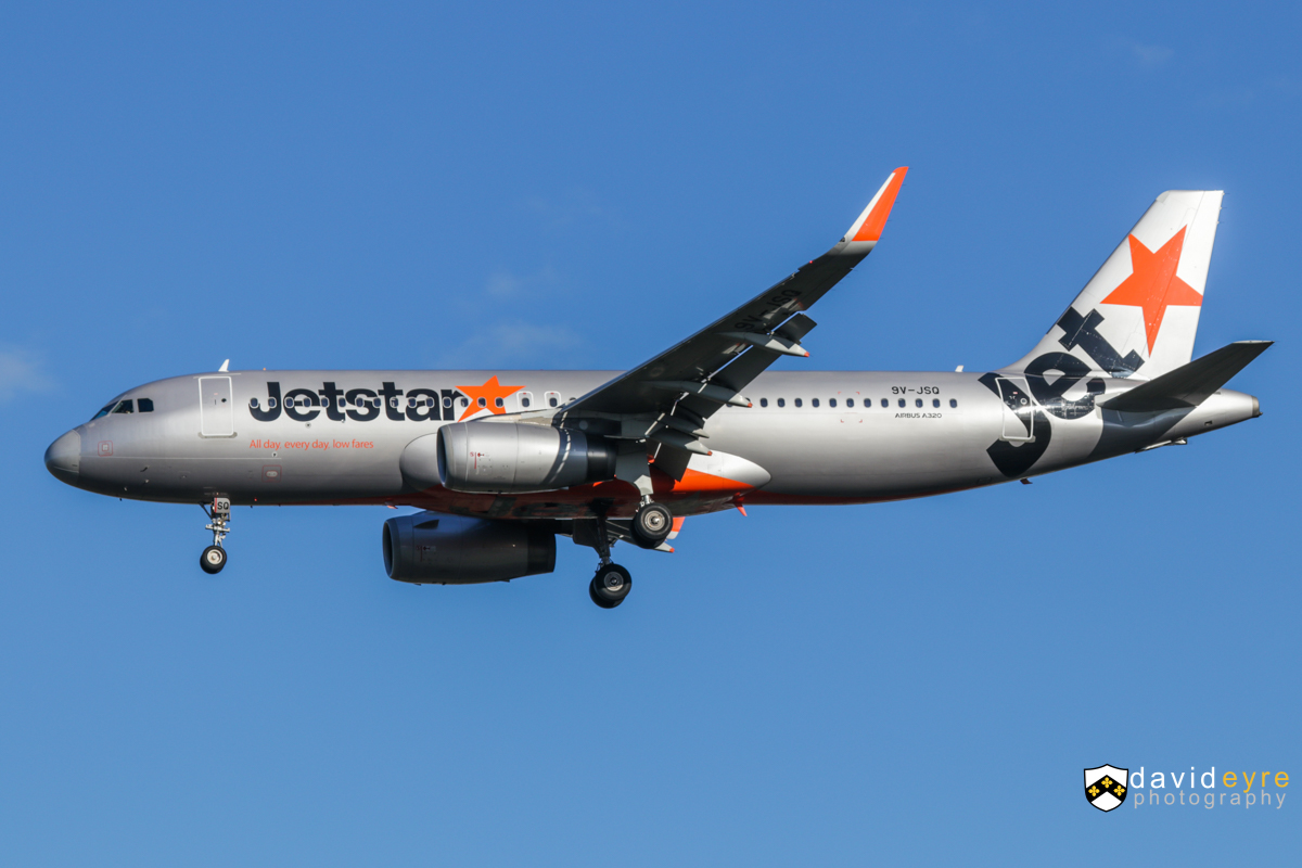 9V-JSQ Airbus A320-232SL (MSN 5390) of Jetstar Asia, at Perth Airport - 24 August 2017. On final approach to runway 21 at 8:20am as flight 3K133 from Singapore. Photo © David Eyre