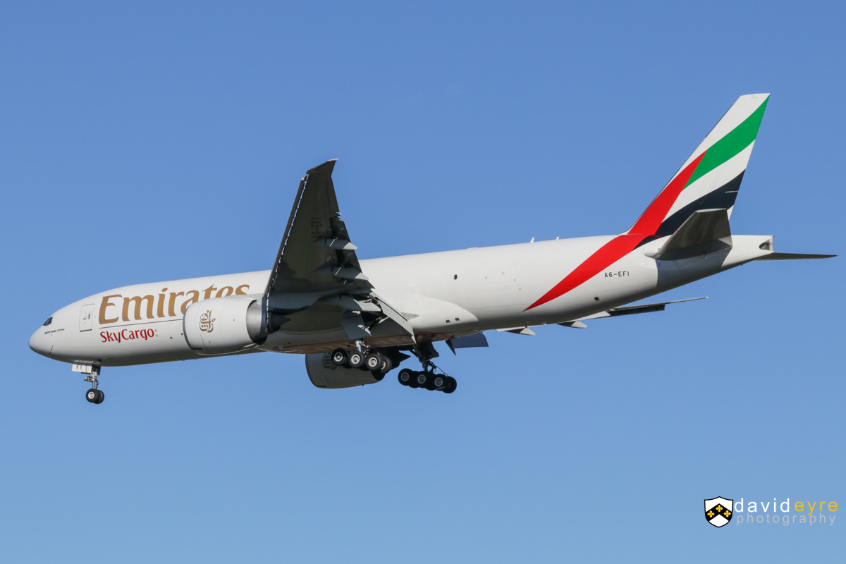 A6-EFI Boeing 777-F1H (MSN 35609/1060) of Emirates SkyCargo, at Perth Airport - Thu 24 August 2017. Flight EK9242 from Dubai World Centre (Al Maktoum), on final approach to runway 21 at 8:43am. It departed at 6:29pm to Hong Kong as EK9242. Photo © David Eyre