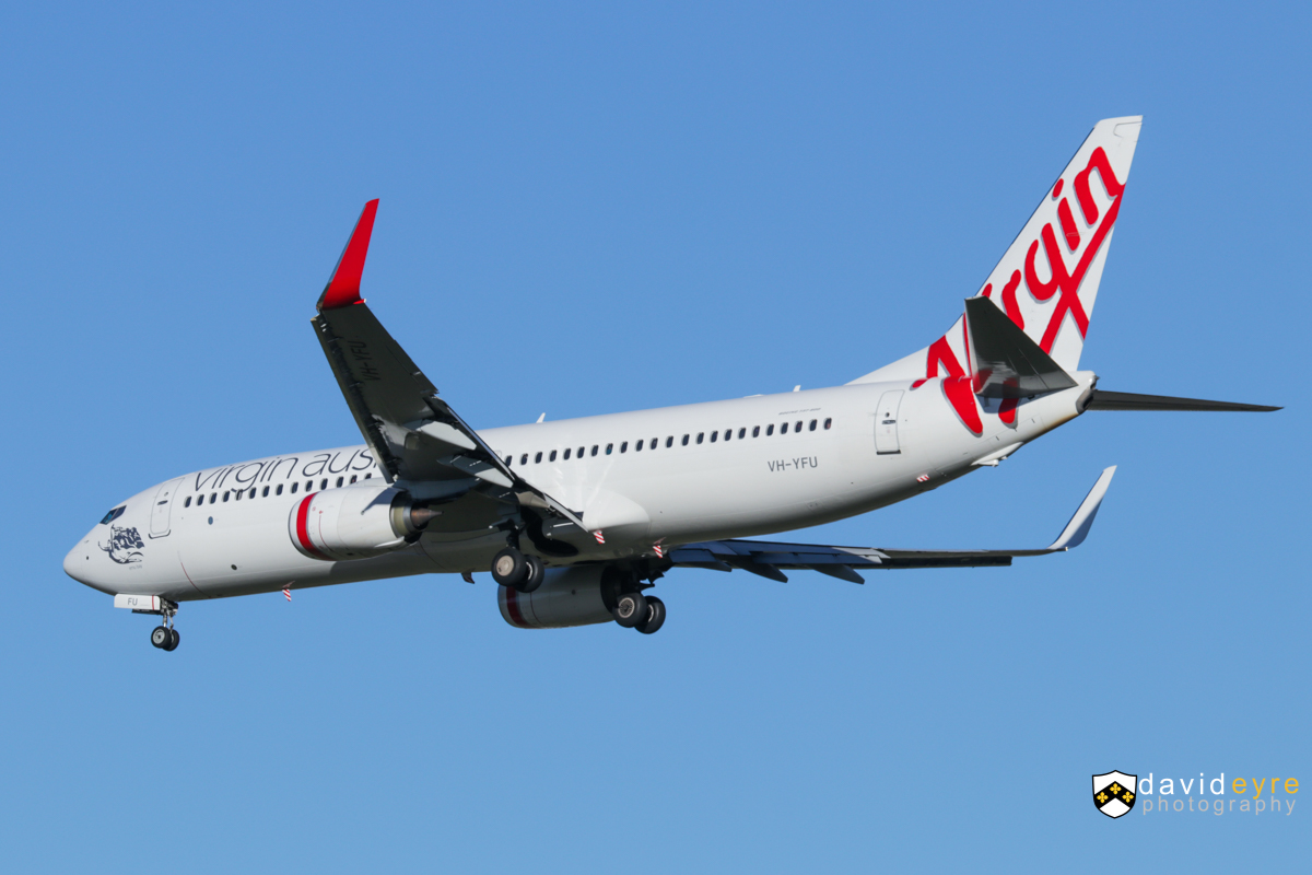 VH-YFU Boeing 737-8FE (MSN 41029 / 5600) of Virgin Australia, named 'Emu Beach', at Perth Airport - 24 August 2017. VA713 from Adelaide, on final approach to runway 21 at 8:15am. Photo © David Eyre