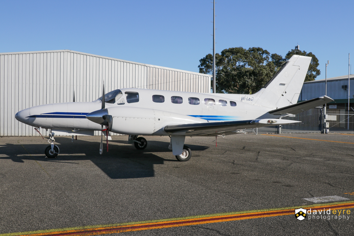 VH-LBD Cessna 441 Conquest (MSN 441-0296) operated by Aerohire Pty Ltd, at Jandakot Airport - 26 August 2017. This aircraft was formerly operated by Perth-based Skippers Aviation. Built in 1983, ex N6838K. Photo © David Eyre
