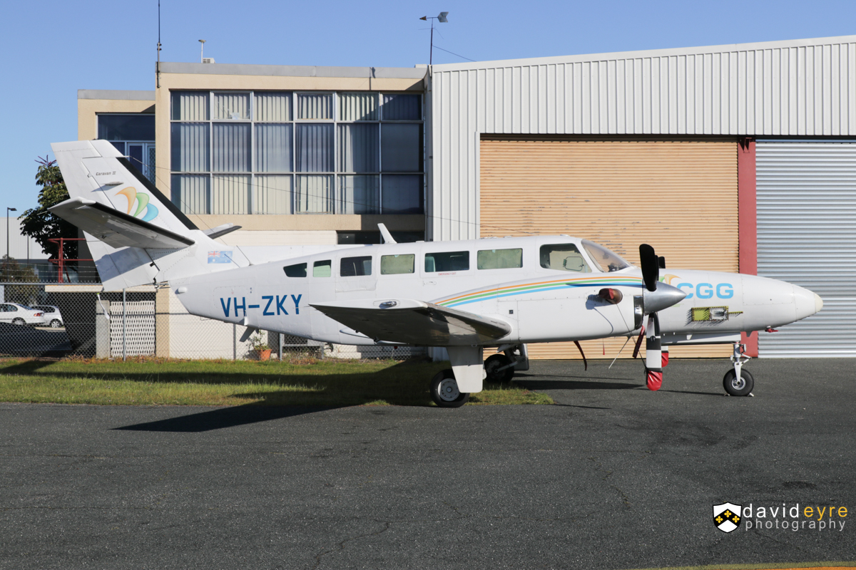 VH-ZKY Reims Cessna F406 Caravan II (MSN F4060043) of CGG Aviation Australia Pty Ltd, at Jandakot Airport -26 August 2017. Used for geophysical survey work, this aircraft is normally fitted with a tail-mounted magnetometer 'stinger', but this has been removed. Built in 1990, ex ZS-SSE, F-WQUD, D-INUS, F-WQUD. Photo © David Eyre