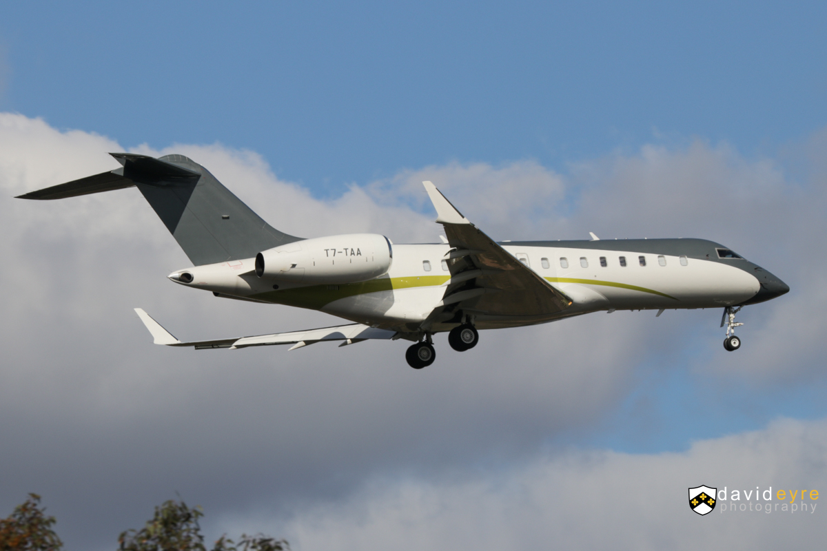 T7-TAA Bombardier BD-700-1A11 Global 5000 (MSN 9249) owned by TAG Aviation Asia, at Perth Airport - 2 September 2017. First visit by this aircraft and first visit by an aircraft registered in the tax haven Italian micro state of San Marino. On final approach to runway 21 at 3:03pm, arriving from Darwin. It departed the next day to Esperance and Melbourne. Built in 2007, ex C-FMGE, HB-JGN, 9H-AFR. Photo © David Eyre