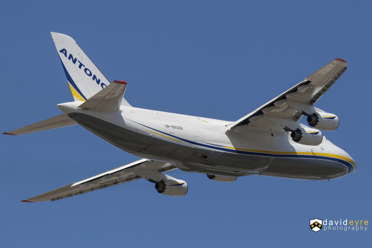 UR-82009 Antonov An-124-100M-150 (MSN 19530501008 / LN 01-08) of Antonov Airlines, at Perth Airport - 2 September 2017. Taking off from runway 21 at 12:37pm as flight ADB260F to Cairns. It arrived from Bangkok the previous day at 6:19pm as ADB2154. Construction completed 26 March 1987 as CCCP-82009, in Aeroflot livery but operated by Antonov Design Bureau. It set a world record by performing a non-stop flight of 20,151 km along the borders of the Soviet Union for 25 hours 30 minutes. Was also displayed at the Paris Air Show in June 1987. Converted to an An-124-100 in 1994 and reregistered UR-82009. Photo © David Eyre