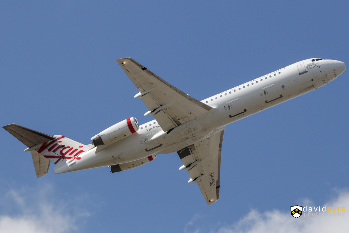 VH-FNC Fokker 100 (MSN 11334) of Virgin Australia Regional Airlines, at Perth Airport - 2 September 2017. Flight VA1791 to Geraldton, climbing after take-off from runway 21 at 12:59pm. Photo © David Eyre