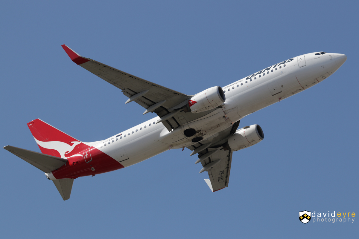 VH-VXL Boeing 737-838 (MSN 33482/1172) of Qantas, named 'Charleville', at Perth Airport - 2 September 2017. QF592 to Adelaide, climbing after take-off from runway 21 at 12:57pm. Photo © David Eyre
