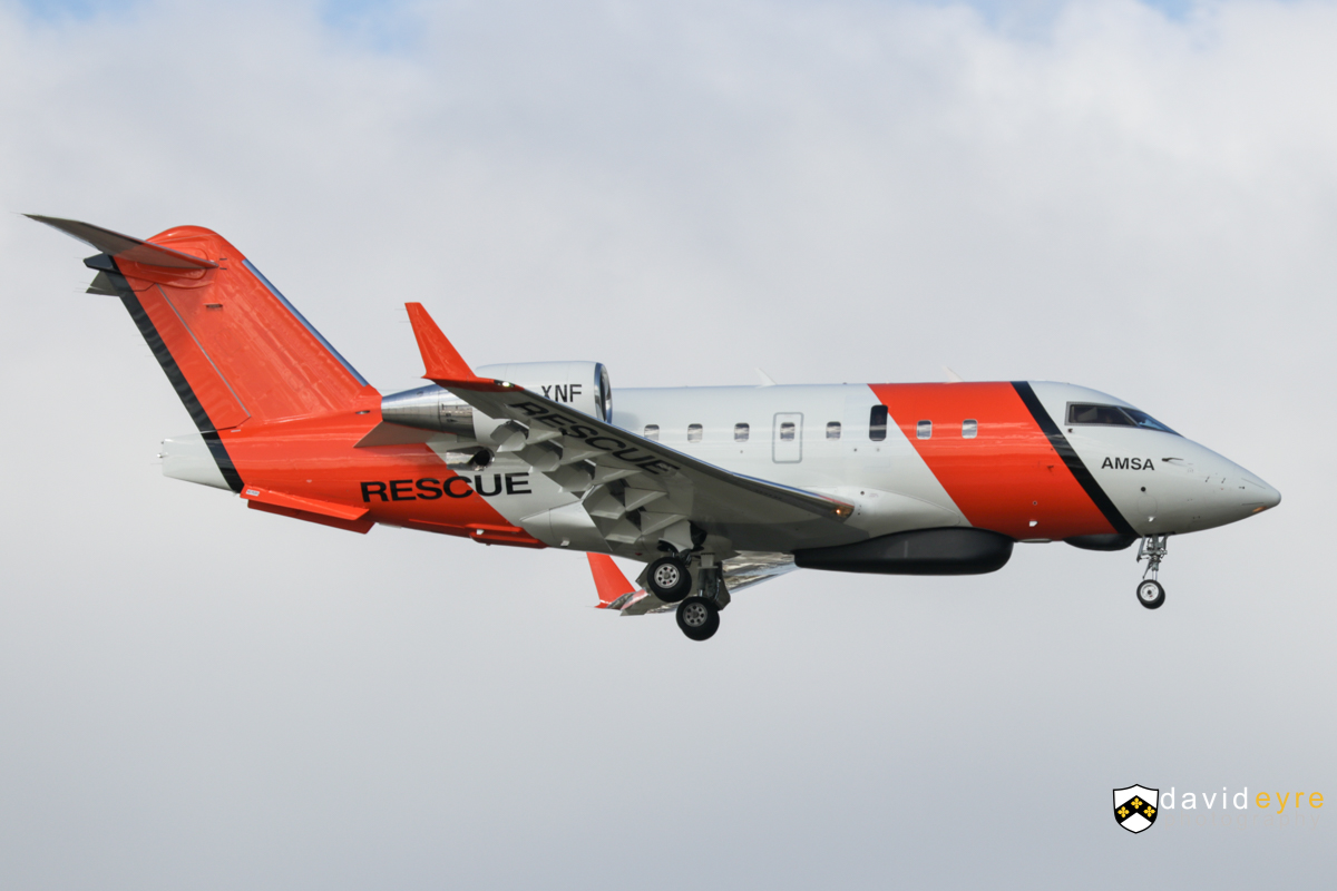 VH-XNF Bombardier CL-600-2B16 Challenger 604 (MSN 5656) owned by Cobham SAR Services Pty Ltd, operated for the Australian Maritime Safety Authority (AMSA), at Perth Airport - 2 September 2017. On final approach to runway 21 at 3:10pm. Used for search and rescue. The long radome under the forward fuselage is a multi mode search radar, whilst the smaller fairing just in front of it contains a search and rescue direction finder. Built in 2006, ex C-FOGX, N338FX, C-FIXN, C-GLXY. Photo © David Eyre