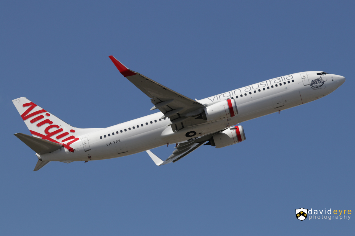 VH-YFX Boeing 737-8FE (MSN 41013/6330) of Virgin Australia, named 'Mackenzie's Bay', at Perth Airport - 2 September 2017. Flight VA688 to Melbourne, climbing after take-off from runway 21 at 1:18pm. Photo © David Eyre