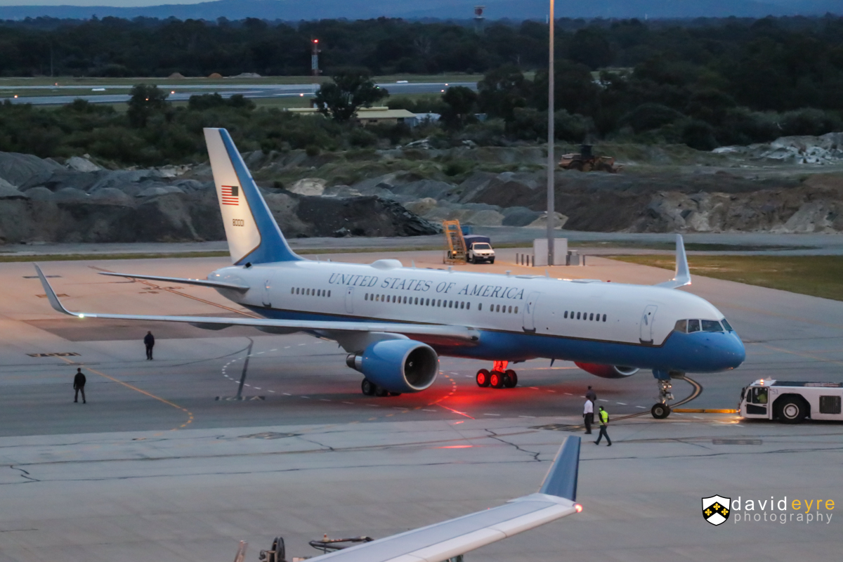 98-0001 Boeing C-32A (757-2G4) (MSN 29025/783) of the 1st Airlift Squadron, 89th Airlift Wing, US Air Force, based at Andrews AFB, Maryland, USA - at Perth Airport - 8 September 2017. The aircraft arrived at 4:22am as 'SAM338' from Diego Garcia. Seen here being pushed from bay 156 to bay 160 at 6:18am - it was then parked side-on west of Bay 155. It took off at 6:48am from runway 06, departing to Brisbane, using the same callsign. The aircraft was built in 1998 and test flown as N3519L before being delivered to the US Air Force as 98-0001. It was fitted with winglets in 2008. The forward area has a communications center, galley, lavatory and 10 business-class seats. The second section is a fully enclosed stateroom for the use of the primary passenger. It includes a changing area, private lavatory, separate entertainment system, two first-class swivel seats and a convertible divan that seats three and folds out to a bed. The third section contains the conference and staff facility with eight business-class seats. The rear section of the cabin contains general seating with 32 business-class seats, galley, two lavatories and closets. Photo © David Eyre