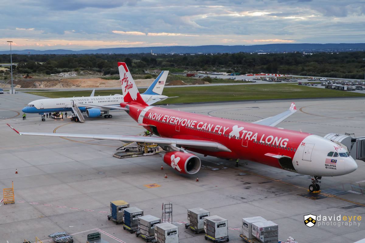 9M-XXV Airbus A330-343X (MSN 1589) of AirAsia X, named 'Global Xpansion', at Perth Airport – 8 September 2017. Flight D7237 to Kuala Lumpur, parked at Bay 155 at 6:31am. Behind it is 98-0001 Boeing C-32A (757-2G4) of the US Air Force, about to depart to Brisbane. Photo © David Eyre