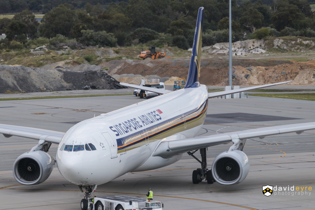 9V-SSC Airbus A330-343X (MSN 1544) of Singapore Airlines, at Perth Airport – 8 September 2017. Flight SQ224 to Singapore, on pushback from Bay 154 at 6:43am. Photo © David Eyre