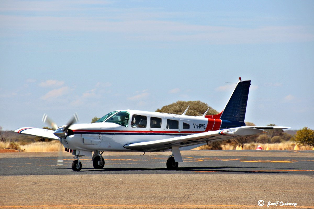 VH-RWE Piper PA-32R-300 Cherokee Lance (MSN 32R-7680036) owned by Michael Atherton, of Melbourne, Victoria, at Meekatharra Airport - 10 September 2017. On a trip around Australia - arrived from Broome and departed for Kalgoorlie. Built in 1975, ex N7020C. Photo © Geoff Carberry