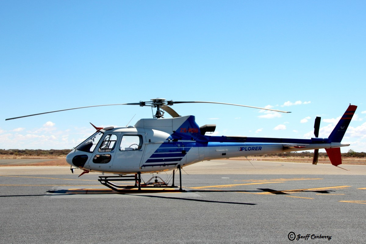 ZS-RSB Eurocopter AS350B3 Squirrel (MSN 3613) of NRG (New Resolution Geophysics) / Wild Dog Helicopters / Skyhorse Aviation, at Meekatharra Airport - 29 September 2017. Fuel stop en route to Geraldton from geophysical survey operations. New Resolution Geophysics (NRG) is an airborne geophysical company formed in 2005, specialising in the collection of ultra-high resolution airborne data, with offices in South Africa (Cape Town, Pretoria) and Perth, Western Australia. Photo © Geoff Carberry