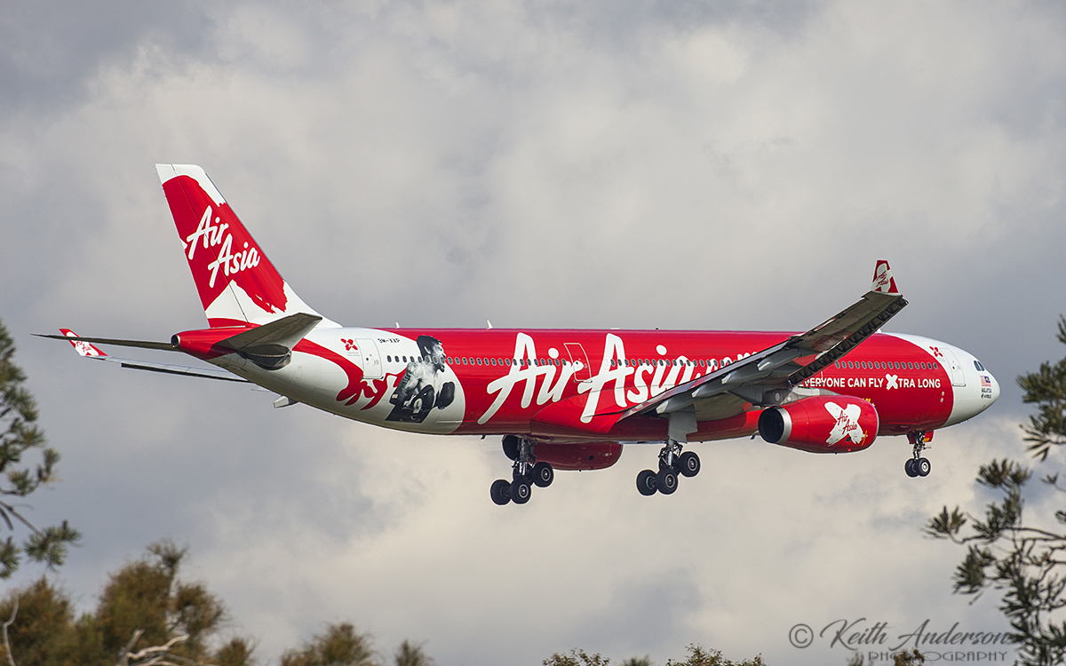 9M-XXP Airbus A330-343X (MSN 1481) of AirAsia X, at Perth Airport – 6 Oct 2017.