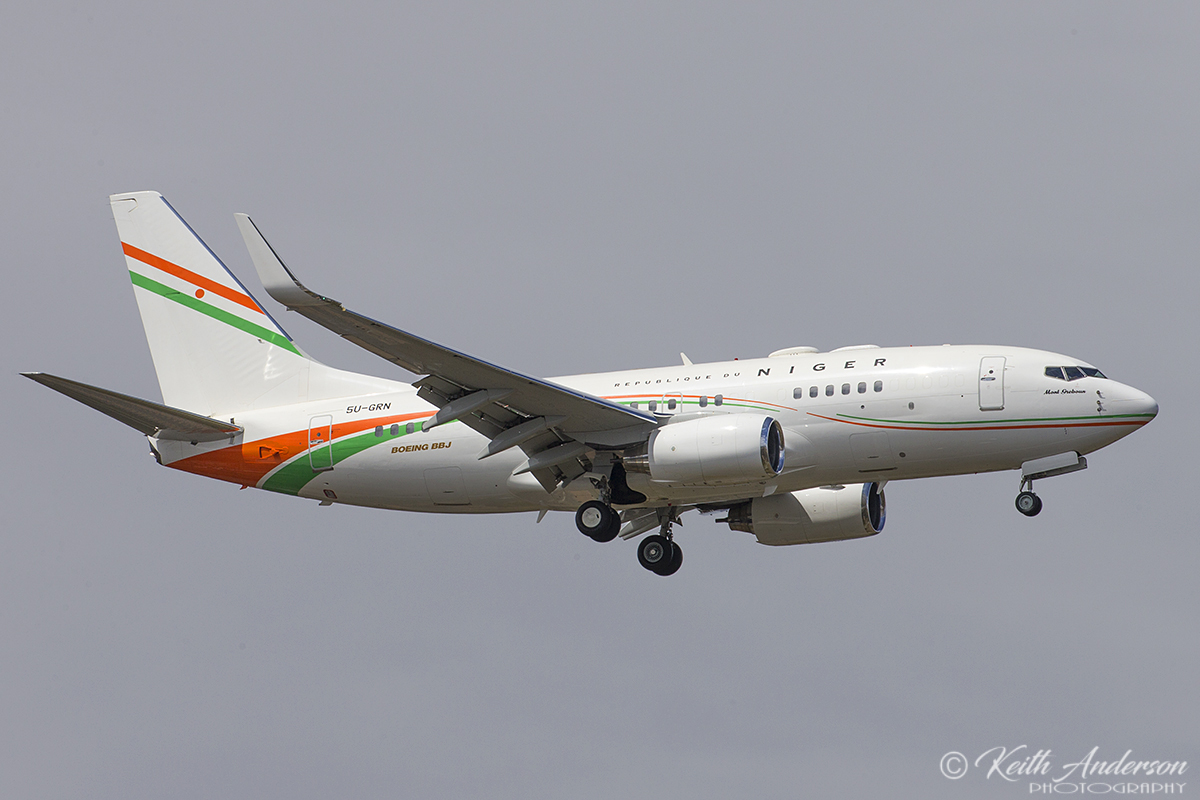 5U-GRN Boeing 737-75U (BBJ) of Republique du Niger (Niger Government) at Perth Airport – 10 Oct 2017.