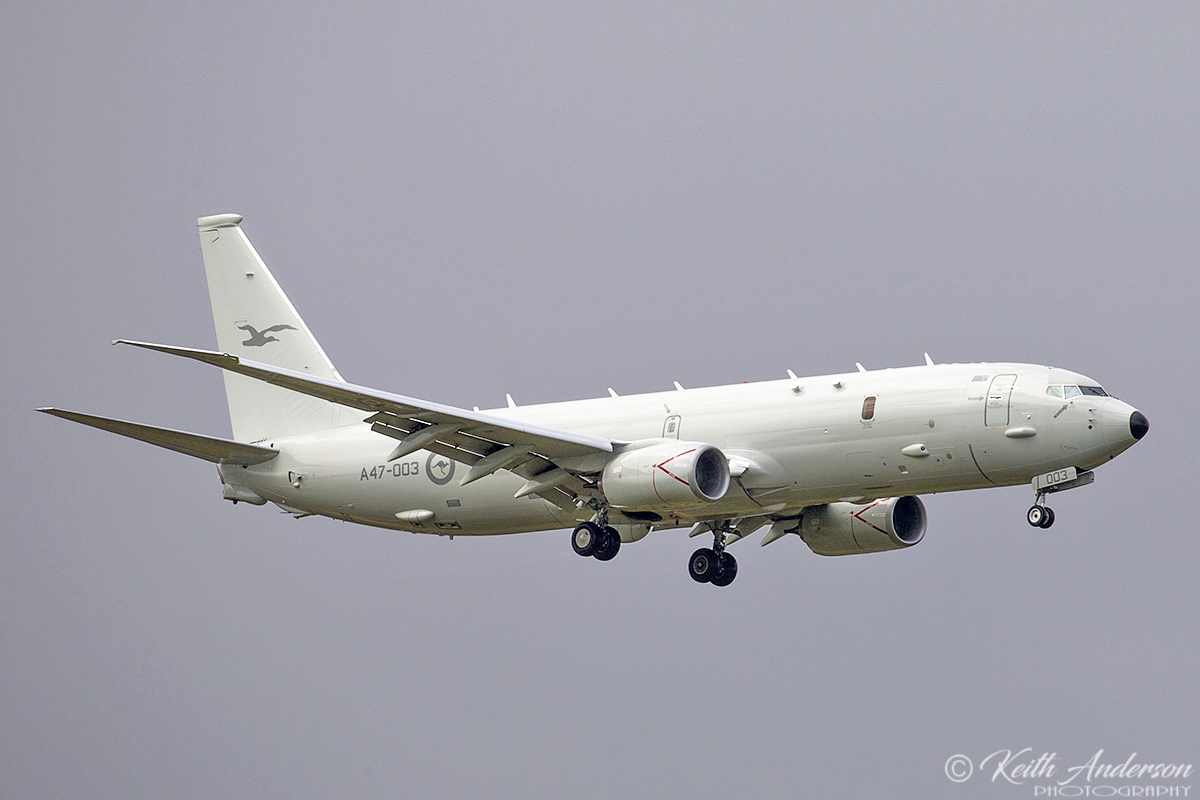 A47-003 Boeing P-8A (737-8FV) Poseidon of RAAF over Bullsbrook – 10 Oct 2017.