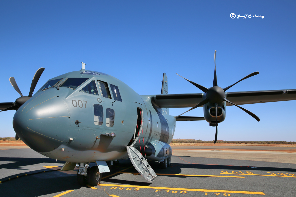 A34-007 Alenia Aermacchi C-27J Spartan (MSN 4185/AUS07) of 35 Squadron, Royal Australian Air Force, at Meekatharra Airport - 17 October 2017. This aircraft had been at Shark Bay for gravel runway operations before refuelling at Meekatharra, then heading to Ceduna. The RAAF ordered 10 C-27s in 2012, to replace the De Havilland Canada DHC-4 Caribou. The aircraft were purchased under US Foreign Military Sales arrangements and are therefore assigned US Air Force serials, even though not operated by them. They are built in Capodichino, Italy with final assembly at Turin and they are then flown to Waco, Texas for systems integration by L-3 before delivery. This particular C-27 had US FMS serial 12-27054 allocated and was test flown as I-RAIB. It arrived in Pearce on 23 June 2017 during its delivery flight to RAAF Richmond, NSW, which it reached on 25 June 2017 as the 6th C-27 delivered (A34-006 not yet delivered). Photo © Geoff Carberry