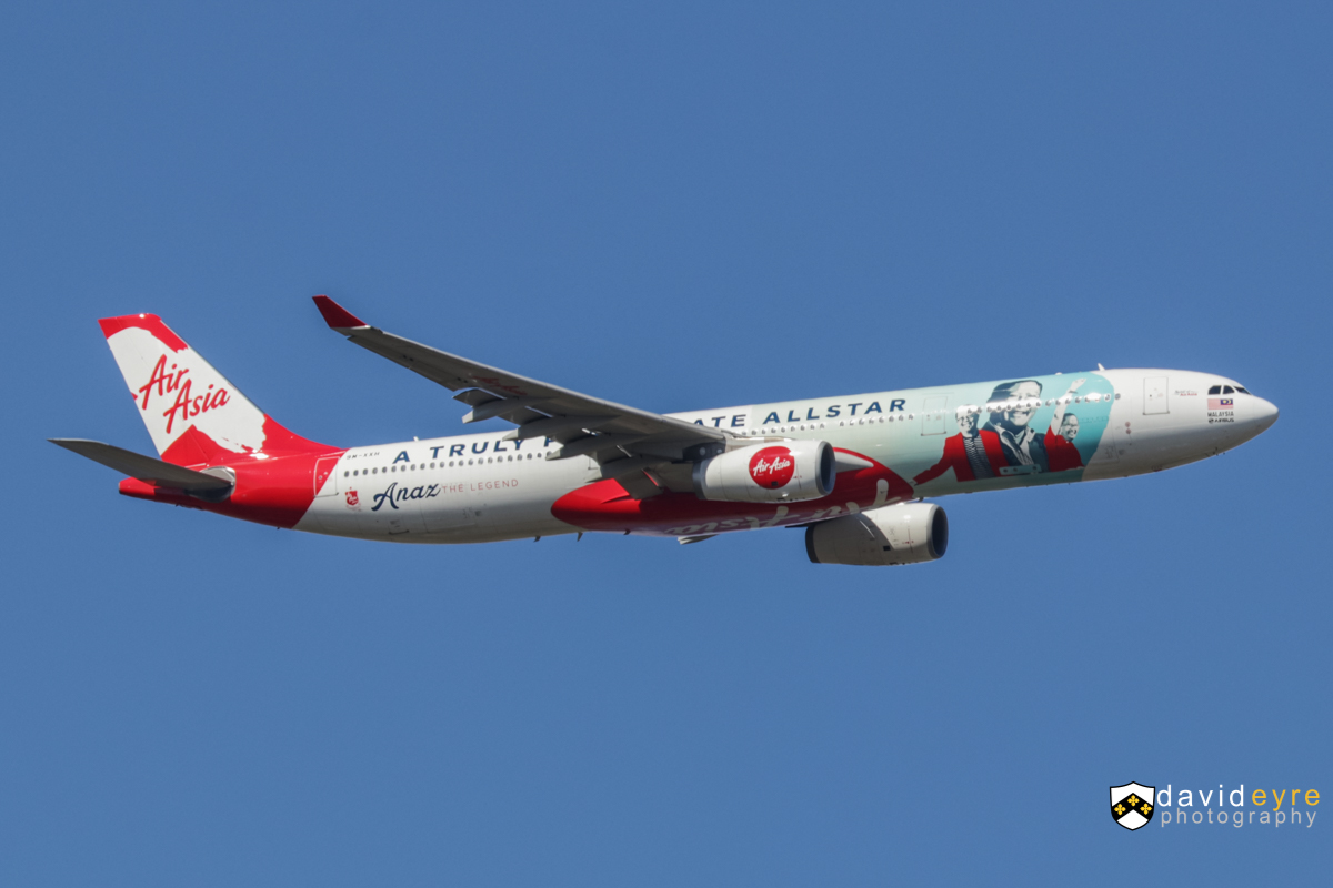 9M-XXH Airbus A330-343X (MSN 1165) of AirAsia X, named 'Spirit of AirAsia' in 'Anaz - The Legend: A Truly Passionate Allstar' livery over the Swan Valley, Perth – 14 October 2017. Wears a special livery dedicated to the late AirAsia Group Chief Operating Officer, Anaz Ahmad Tajuddin. Flight D7232 from Kuala Lumpur is seen turning onto the approach for Perth Airport's runway 21 at 3:01pm. Photo © David Eyre