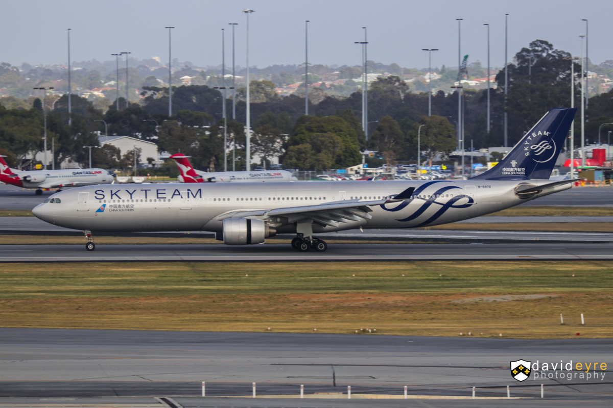 B-5970 Airbus A330-323X (MSN 1645) of China Southern, in special SkyTeam livery, at Perth Airport - 29 October 2017. The first official service by China Southern's newer A330-300s to Perth, configured with business, premium economy and economy seats. However, three of these newer aircraft visited earlier in the year, including B-5970, which first visited Perth on 25 May 2017. The airline also increased frequencies from 29 October, from four flights per week to five. Flight CZ319 from Guangzhou, landing on runway 21 at 7:19am. Photo © David Eyre