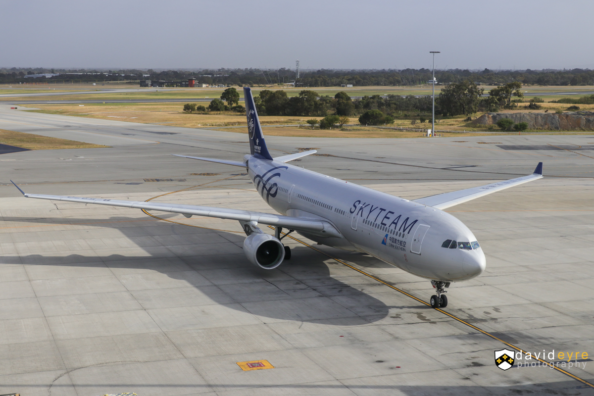 B-5970 Airbus A330-323X (MSN 1645) of China Southern, in special SkyTeam livery, at Perth Airport - 29 October 2017. The first official service by China Southern's newer A330-300s to Perth, configured with business, premium economy and economy seats. However, three of these newer aircraft visited earlier in the year, including B-5970, which first visited Perth on 25 May 2017. The airline also increased frequencies from 29 October, from four flights per week to five. Flight CZ319 from Guangzhou, taxying in at 7:26am. Photo © David Eyre