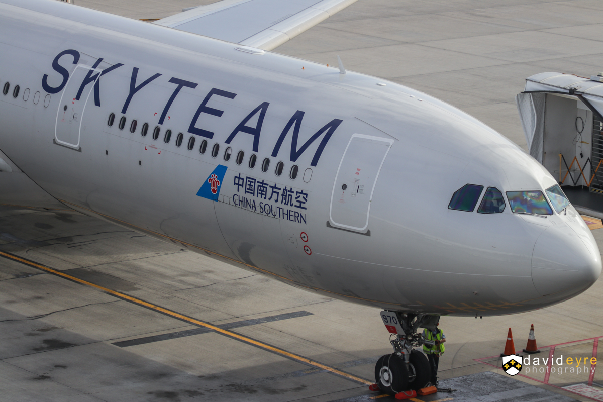 B-5970 Airbus A330-323X (MSN 1645) of China Southern, in special SkyTeam livery, at Perth Airport - 29 October 2017. The first official service by China Southern's newer A330-300s to Perth, configured with business, premium economy and economy seats. However, three of these newer aircraft visited earlier in the year, including B-5970, which first visited Perth on 25 May 2017. The airline also increased frequencies from 29 October, from four flights per week to five. Flight CZ319 from Guangzhou, seen just after parking at 7:27am. Photo © David Eyre