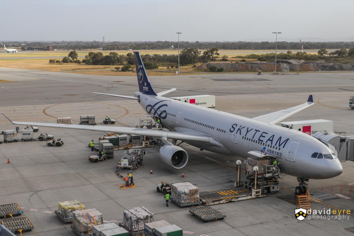 B-5970 Airbus A330-323X (MSN 1645) of China Southern, in special SkyTeam livery, at Perth Airport - 29 October 2017. The first official service by China Southern's newer A330-300s to Perth, configured with business, premium economy and economy seats. However, three of these newer aircraft visited earlier in the year, including B-5970, which first visited Perth on 25 May 2017. The airline also increased frequencies from 29 October, from four flights per week to five. Flight CZ319 from Guangzhou, seen at 7:39am, 12 minutes after arrival. Photo © David Eyre