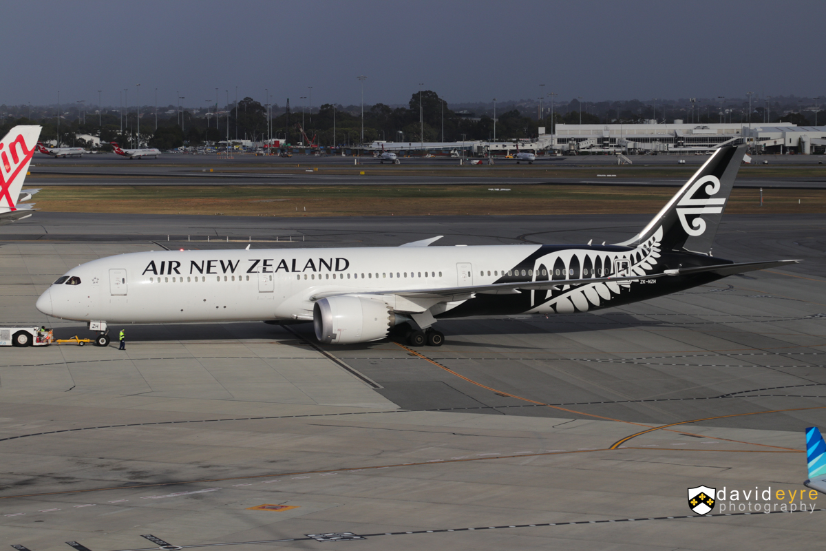 ZK-NZH Boeing 787-9 Dreamliner (MSN 37964/351) of Air New Zealand, at Perth Airport - 29 October 2017. Flight NZ178 to Auckland, seen during pushback for departure at 7:04am. Photo © David Eyre