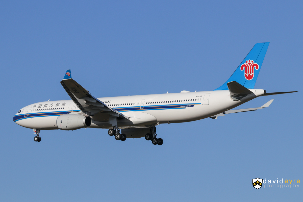 B-8361 Airbus A330-343X (MSN 1814) of China Southern, at Perth Airport - 1 November 2017. First visit to Perth by B-8361. Flight CZ319 from Guangzhou, on final approach to runway 21 at 7:03am. Photo © David Eyre