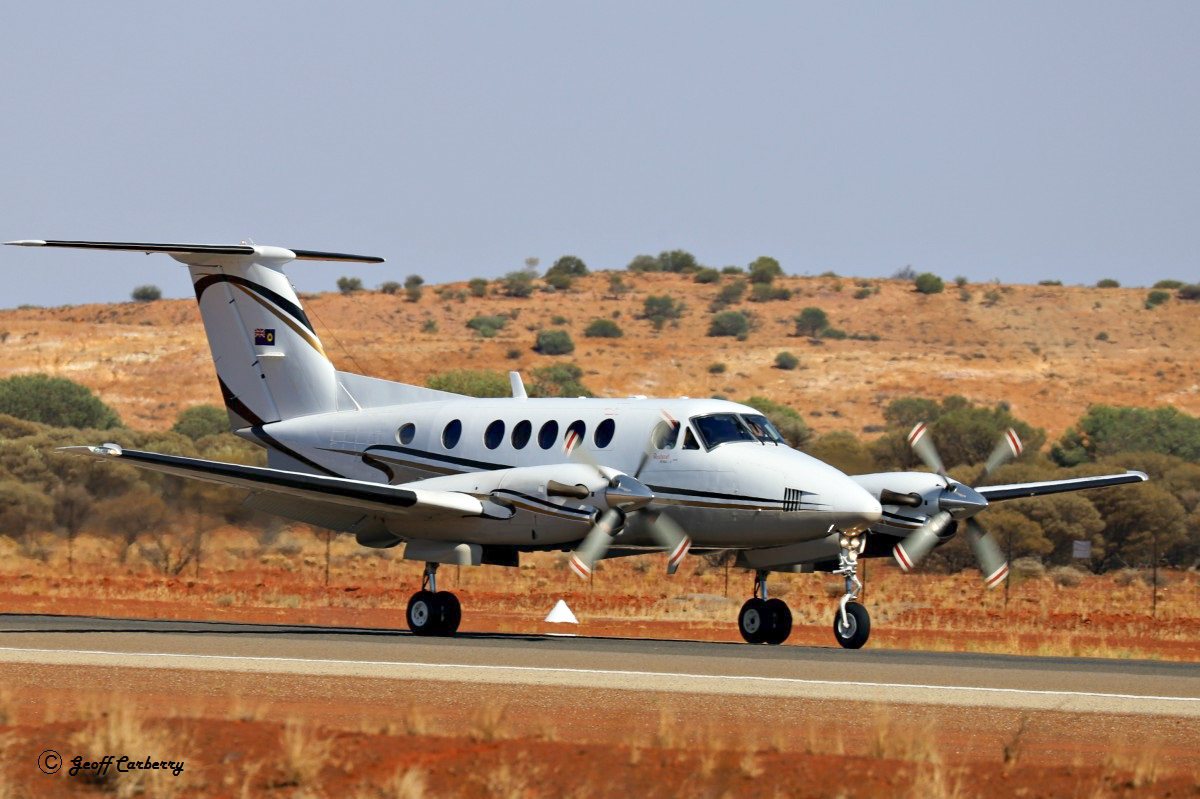 VH-MQZ Beech King Air B200 (MSN BB-1961) of Nantay Pty Ltd, operated by Maroomba Airlines for the State Government of Western Australia, at Meekatharra Airport on 13 November 2017. Built in 2006, ex N74061. Photo © Geoff Carberry