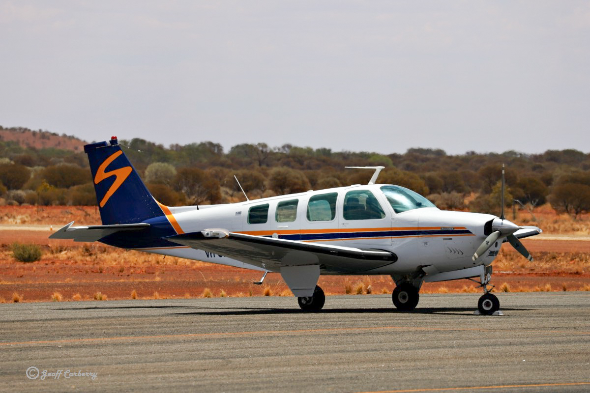 VH-CKX Beech A36 Bonanza (MSN E-540) owned by Shine Aviation of Geraldton, WA, at Meekatharra Airport - 14 November 2017. Built in 1974, ex N4401W. Photo © Geoff Carberry