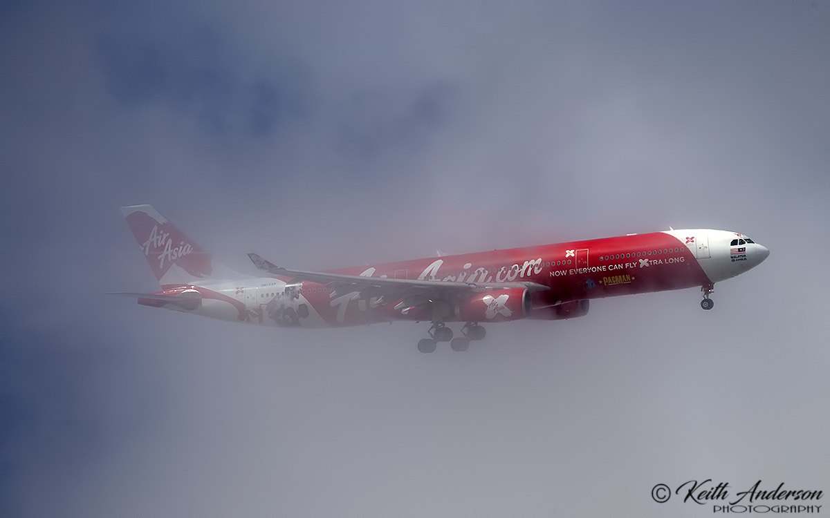 9M-XXP Airbus A330-343X (MSN 1481) of AirAsia X, named 'Xiao Long Bao', with 'Manny Pacquiao - Pacman' decals, in and out of cloud, turning over the Swan Valley to join finals for Perth Airports runway 21. – 3:24pm 27 November 2017.