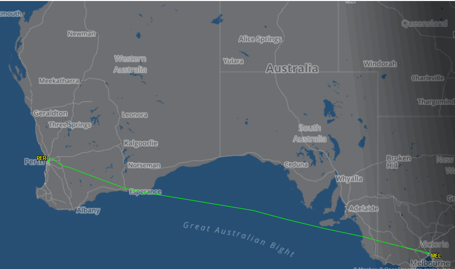 Route flown by VH-ZNA Boeing 787-9 Dreamliner (MSN 39038/615) of Qantas, named 'Great Southern Land', on flight QF481 Melbourne to Perth - its first revenue passenger flight and first visit to Perth - 1 November 2017. Map courtesy of FlightAware.