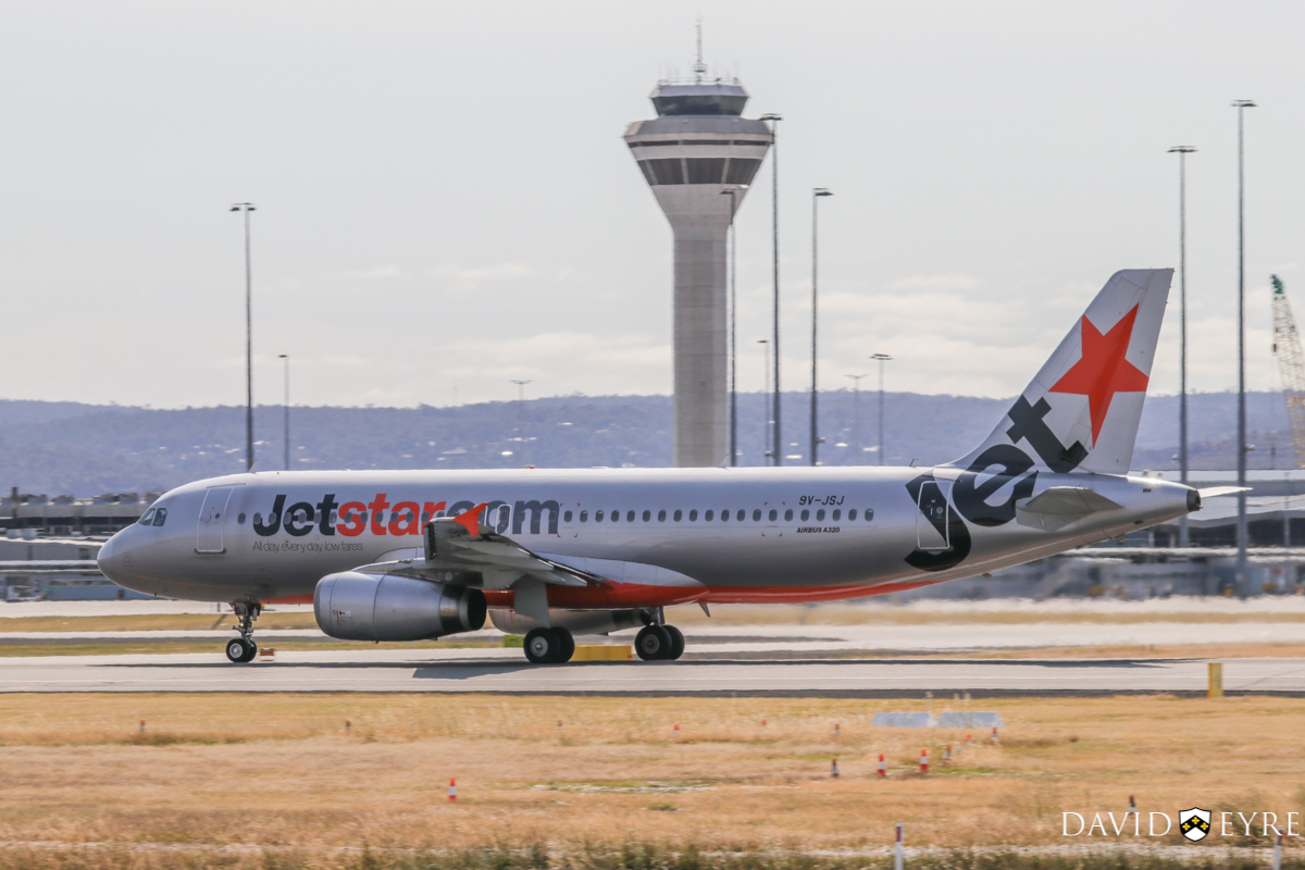 9V-JSJ Airbus A320-232 (MSN 4515) of Jetstar Asia, at Perth Airport - 2 November 2017. Flight 3K134 to Singapore, taking off from runway 03 at 8:41am. Photo © David Eyre