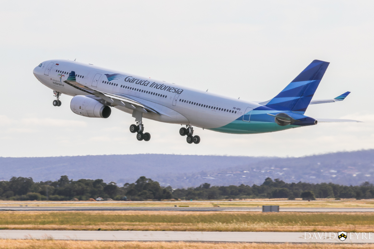PK-GPU Airbus A330-343X (MSN 1560) of Garuda Indonesia, at Perth Airport - 2 November 2017. Flight GA727 to Denpasar (Bali), taking off from runway 03 at 7.45am. Photo © David Eyre